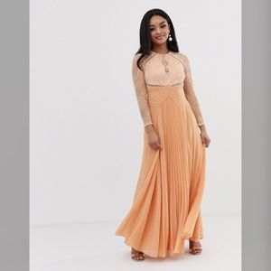 ASOS Peach long sleeve lace pleat maxi dress